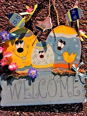 Easter Egg Welcome Sign Happy Face Chick Colored Eggs Butterfly Wall Door Decor