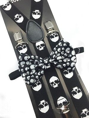 Halloween Skull Head Design Bow Tie & Suspender Set Tuxedo Wedding Accessories  (Halloween Skulls Designs)