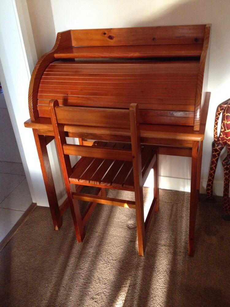 Children S Roll Top Desk Chair Antique Pine Colour