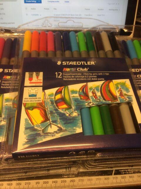12 assort STAEDTLER Noris Club 320 Double Ended Fibre-Tip Color Pens Art Markers