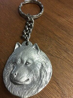 American Eskimo Dog Fine Pewter Keychain Key Chain Ring Rawcliff Pewter 1983