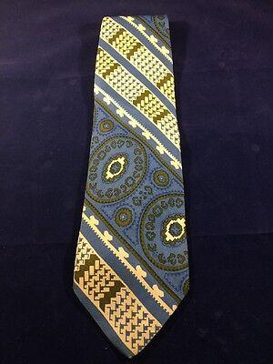 1960s – 70s Men's Ties | Skinny Ties, Slim Ties Mens Vintage 1960s 1970s Silk Necktie Blue Green Geometric Multi Pattern $27.64 AT vintagedancer.com