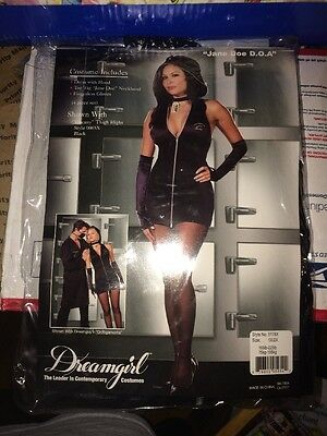 Doe Kostüm Halloween (Sexy Dreamgirl Jane Doe DOA Black Mini Dress Halloween Costume 1x / 2x)