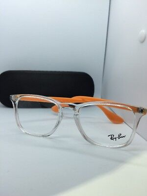 New Authentic Ray Ban RB 7074 5736 Clear Orange RX Eyeglasses 50mm