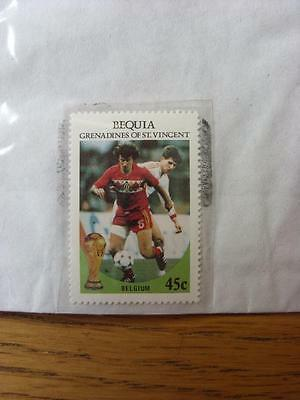 1986 World Cup Stamp: Bequia - Belgium Player