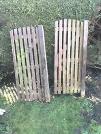 Pair of slatted wooden gates, 2ft 3in wide
