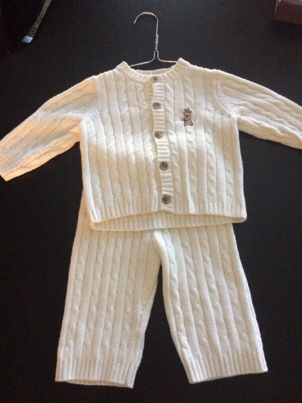 First Moments Layette 2pc CABLE KNIT Sweater Outfit Cardigan & Pants Sz 3-6 Mo