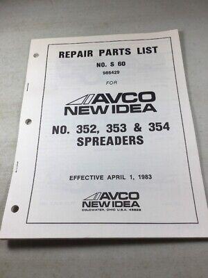 Avco New Idea 352 353 354 Manure Spreader Parts Catalog Manual