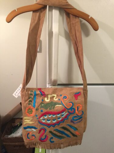 Moyna NWT Embroidered Satchel Tan Suede w/ Multi Color Patte