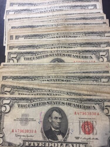 1963 Well Circulated Five Dollar ($5) Red Seal Bill - Buying 1 Note