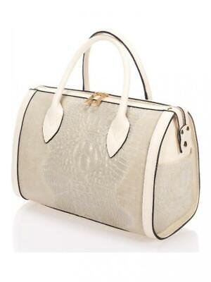 Giorgio Costa Leather Bag Leather Crocodile Pattern And Suede Pink Taupe