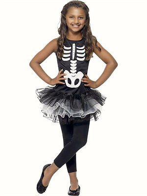 Childs Girls Skeleton Tutu fancy dress costume Childrens Halloween outfit  ()