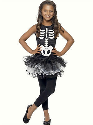 Childs Girls Skeleton Tutu fancy dress costume Childrens Halloween outfit