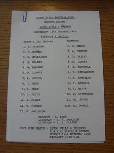 16/10/1985 Aston Villa Reserves v Everton Reserves  (Single Sheet)
