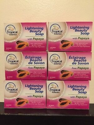 - 6 X Tropical Essence Lightening Beauty Soap with Papaya ❤️❤️LOT OF 6 SOAPS❤️