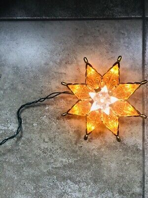 "Christmas Tree Topper Star Lights UL Tested Plastic Brite Orange White Gold 8.5"""