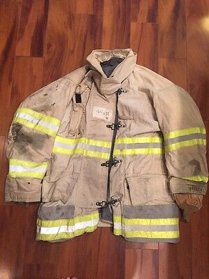 Firefighter Globe Turnout Bunker Coat 44x32 White Vintage Halloween Costume