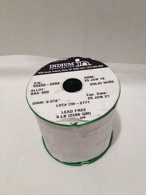 Indium Corporation Solid Wire Diam0.078 Alloy Sac 305 5lbs Lead Free