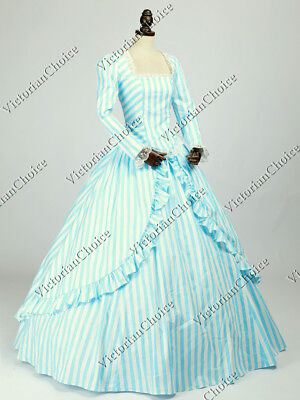Victorian Civil War Blue Candy Striper Dress Steampunk Halloween Ball Gown - Candy Dress Kostüm