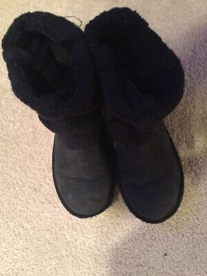 Ugg Australia Black Suede Ankle Boots Size 1