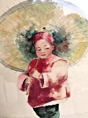 Antique Chinese Water Color FINE ART Painting FRAMED Boy & Umbrella SIGNED OOAK