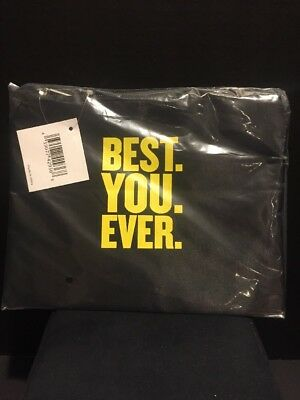 Best You Ever Black Nylon Satin Makeup Bag Case