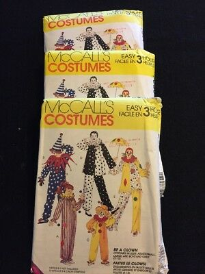 Easy Clown Costume Pattern McCalls 7850 Large Med Small New Old Stock 3 Hour