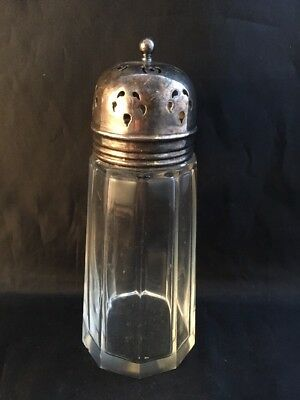 Vintage Sugar Sifter Silver Plated Top And Glass