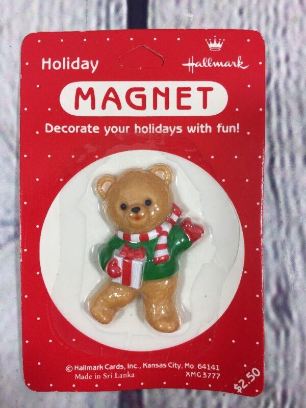 Vtg Hallmark Christmas Magnet Teddy Bear w Gift - Sealed / Holiday Refrigerator