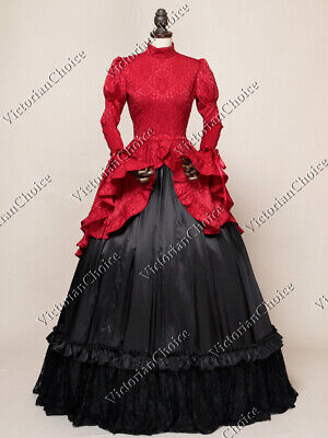 Gothic Viktorianisch Downton Abbey Brokat Kleid Theater Halloween Kostüm 324