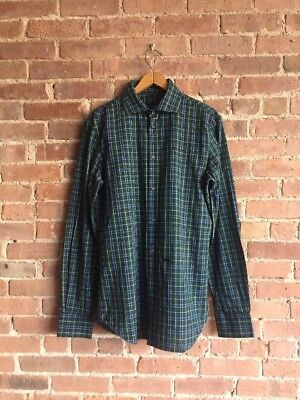 DSquared2 Men's Plaid Shirt, Green And Blue, Sz 50, Italy