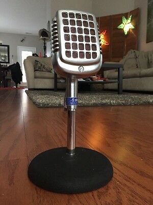 Vintage 1950's Shure 737 A Crystal Microphone W/ Period Stand