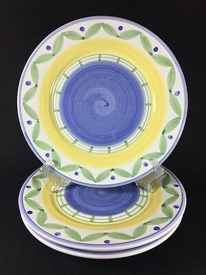 William Sonoma Marisol Earthenware Hand Painted Italian 2 Dinner Plates