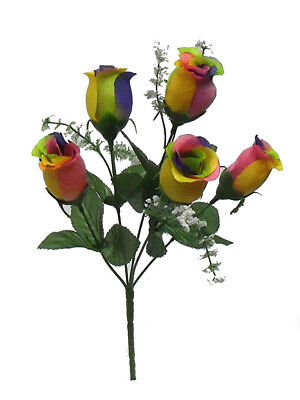 5 Rainbow Roses Buds Wedding Centerpieces Bridal Bouquet Silk Wrinkle Flowers ()