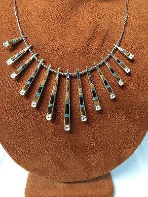 Navajo Native American Turquoise Multistone Brown Inlay Reversible Necklace #4