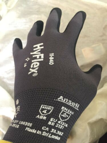 3 pair Ansell HyFlex 11-840/11-841 Foam Nitrile Gloves Size