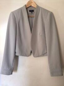 Topshop grey short cropped layered jacket blazer size 12 worn once