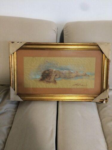 Quadro Su Carta Pastello Raffigurante Nudo Di Donna Del Pittore Franco Travi