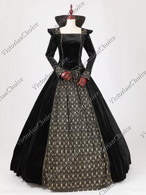 Queen Elizabeth I Medieval Black Velvet Vampire Halloween Ball Gown N 325 M