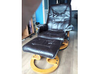 Swivel recliner chair and footstool, both with vibration function