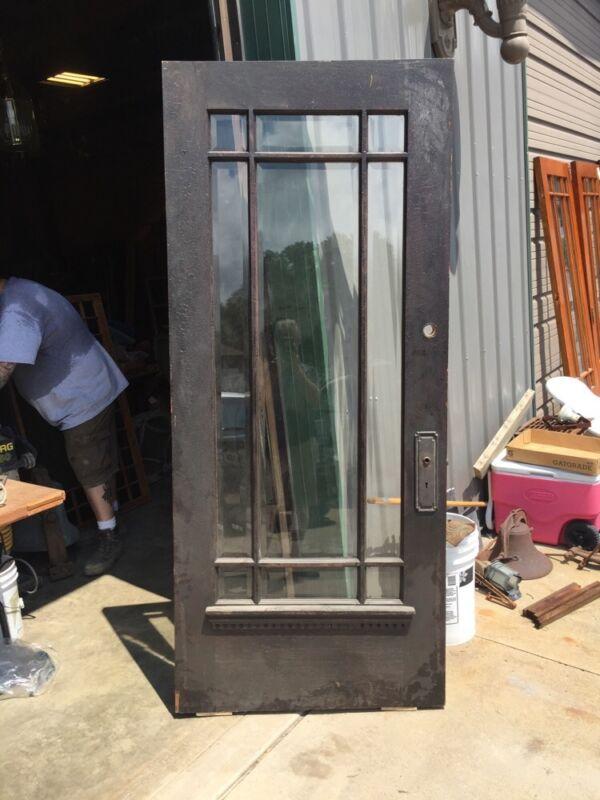 D 225 Antique Oak Painted Townhouse Entrance Door Beveled Glass