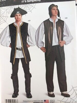 UNCUT EASY MEN'S PIRATE or AVIATOR SHIRT & VEST Pattern Sz XS-XL Simplicity - Pirate Costume Easy