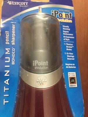 Westcott Ipoint Evolution Titanium Battery Pencil Sharpener- New -