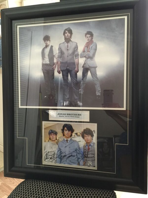 Signed Jonas Brothers Framed Collage W/Authenticity