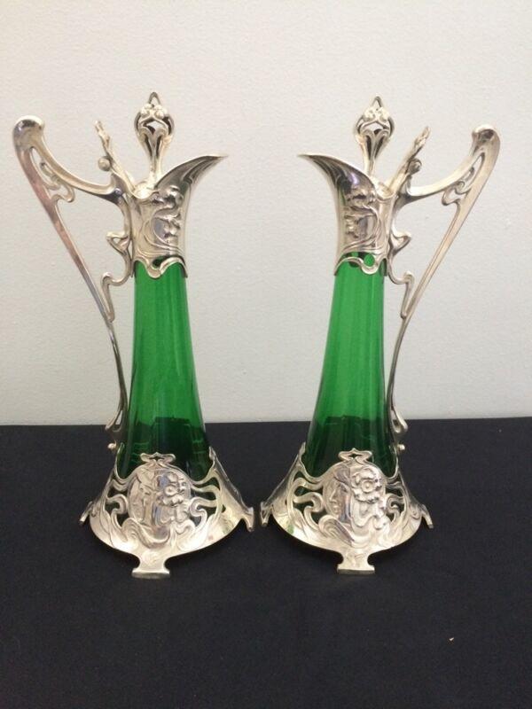 WMF Art Noveau Pair Claret Jugs White Metal & Green Glass Decanters