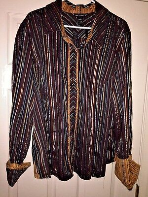 Nwot Lane Bryant Striped Womens Dress Casual Oxford Light Weight Shirt Sz 26 28
