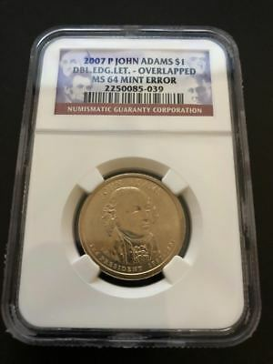JOHN ADAMS DOUBLE EDGE LETTERING NGC MS64 OVERLAPPED MINT ERROR DOLLAR COIN