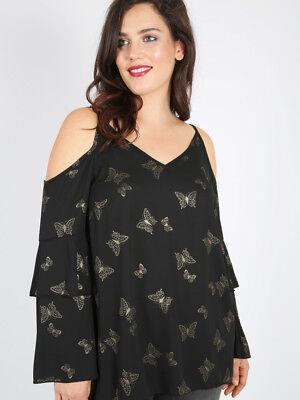 Tunika Gr.52 Bluse schulterfrei Damen Schmetterlinge schwarz festlich Shirt Top  ()