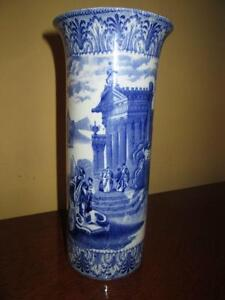 superbe vase Antique Staffordshire Blue&White Pottery/1910 21cm