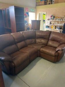 Brown leather modular couch includes 2 recliners - delivery available